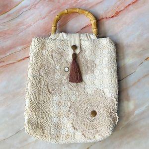 Vintage crochet overlay carry bag